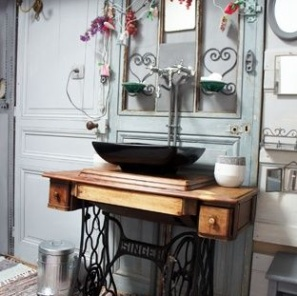 Treadle machine bathroom vanity