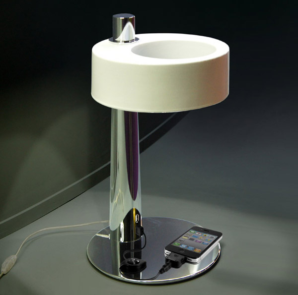 Pulsar Asimmetrica Ceramic Table Lamp Charges Your Gadgets
